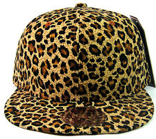 ANIMAL PRINT SNAPBACK HAT CAP FLAT BILL CHEETAH PATTERN LEOPARD FAUX BLACK BROWN
