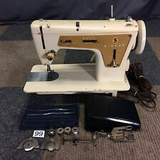 SERVICED WORKS PERFECT SINGER FASHION MATE 237 ZIG ZAG HEAVY DUTY SEWING MACHINE