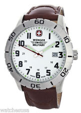 Wenger Swiss Military Men's White Dial Leather Military Watch 0741.20