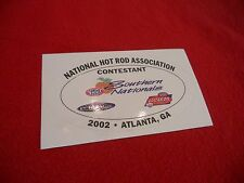 NHRA drag racing 2002 Southern Nationals Atlanta contestant decal Powerade Lucas