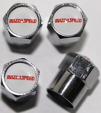 Mazdaspeed White 3 6 Mazda Tire Valve Stem Caps Cover Wheel Aluminum Set of 4