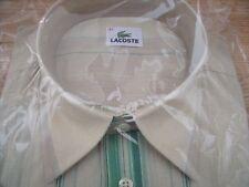 TP1223 Lacoste Herren-Hemd Hellbeige Beige Grün Streifen kurzarm Gr.42 NEU OVP