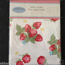 PRIMEROSE WIPE CLEAN PVC TABLECLOTH RECTANGULAR RED FRUIT FLORAL TABLECLOTH NEW