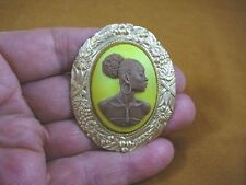 (CA20-24) RARE African American LADY brown + yellow CAMEO Pin Pendant JEWELRY