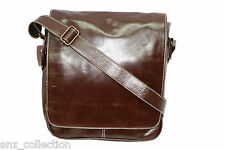 Deluxe Men's Brown Messenger Shoulder Cross Body Laptop Office Ipad leather Bag