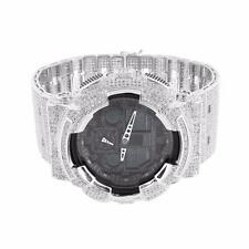 Mens Iced Out G Shock Watch GA100-1A1 Silver Plated Bezel Band Black Face Custom