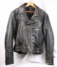 FIRST GEAR Distressed Brown Leather Chief Rugged Motorcycle Biker Jacket Men M