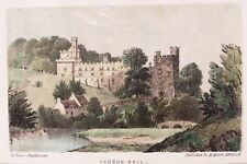 OLD PRINT HADDON HALL DERBYSHIREc1840's COUNTRY HOUSE by G ROWE 19th C ANTIQUE