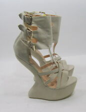 """Beige 6"""" high wedge heel 2"""" platform open TOE ankle strap SEXY SHOES .Size.7.5"""