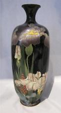 "Fine Quality Cloissone Vase on BlackGround with Irises Butterflies 7"" AF"