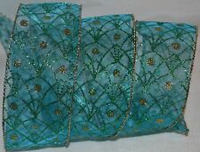 Wired Ribbon~Sheer Aqua Blue~Sparkle Peacock Feather~Gold~Holiday~Wreath~Bow