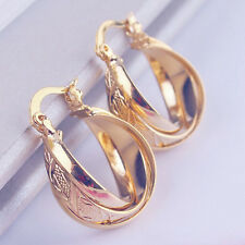 Real 9ct Gold Filled Earrings Gypsy Hoops Antique Style UK Stock Round cable