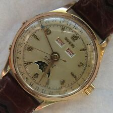 Ducal Triple Date & Moon Phase automatic mens wristwatch gold filled case 33 mm.