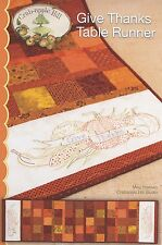 GIVE THANKS TABLE RUNNER EMBROIDERY PATTERN From Crabapple Hill Studio NEW