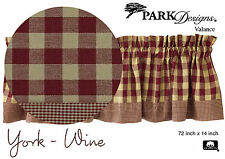 York Valance by Park Designs, 72x14, Wine Checked with Mini Check Border, One