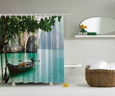 JUNGLE ISLAND CAVE LAGOON FISHING BOAT TROPICAL WATERS BATHROOM SHOWER CURTAIN