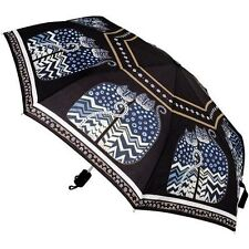 LAUREL BURCH COMPACT UMBRELLA BLACK POLKA DOT CATS ~ AUTO OPEN & CLOSE ~ NEW
