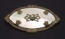 Antique Oval Mother Of Pearl Brooch with Accent Stone
