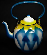 Art Deco Enameled Steel Tea Pot Kettle w/ Lid 1930s Antique Yugoslavia RARE MCM