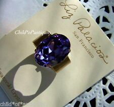 Liz Palacios Tanzanite PURPLE Multi-facet OVAL Swarovski Crystal Gold Band Ring