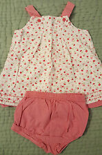 Girls Carters Cotton Sundress Dress Bloomers White Red Pink Floral Gingham 9 mo