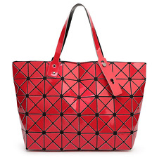 High Quality BAO BAO Issey Miyake Metallic RED TOTE Bag  NEW