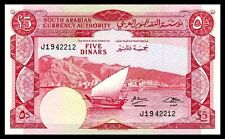 RARE GEM UNCIRC RED 1965 ADEN (SO. YEMEN) 5 DINARS Dhow/Camel/W'mark RETAIL $225