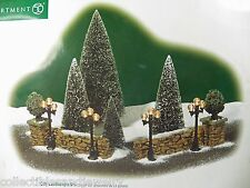 DEPT 56 CITY LANDSCAPE SET 13 Pc 52993 Lamp Posts Trees Stone Walls Christmas