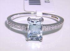 ART DECO 9CT WHITE GOLD BAGUETTE .84CT AQUAMARINE 0.05CT DIAMOND CLUSTER RING