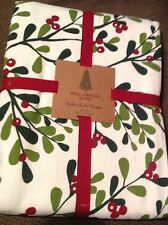 "Well Dressed Home Tablecloth 52x70"" Christmas Red Green Off White Cotton New"