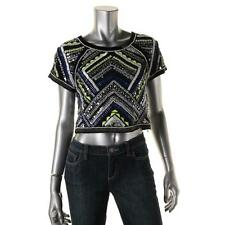 Parker 7798 Womens Multi Mesh Embellished Short Sleeves Blouse Top S BHFO