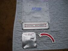 """Name & Model Plates from  Central Machinery 12"""" Wood Lathe T34706 1 1/2"""" Bed Gap"""