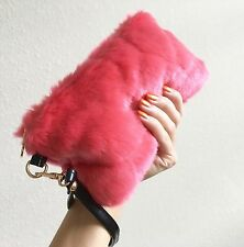 Pink Coral Watermelon Fake Fur Kawaii Harajuku Clutch Evening Bag