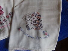 """7 BEAUTIFUL HAND EMBROIDERED FLOUR SACK TOWELS """"SASSY GIRL DAYS OF THE WEEK"""""""