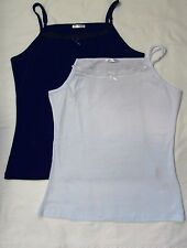 TWIN PACK 2x LADIES PLUS SIZE PLAIN COTTON XL VEST TOP CAMISOLE LACE 22 - 24