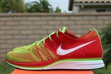 NIKE FLYKNIT TRAINER + PLUS SZ 13 UNIVERSITY RED ELECTRIC GREEN WHITE 532984 631