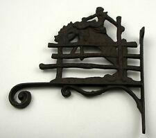 "Large 10.5"" COWBOY Cast Iron Figural Plant HOOK/Hanger Rodeo Fence Rider Horse"