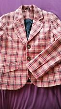 Boden Pink Checked 100% Wool Jacket Size 12