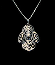 Poodle Dog Canine Collection Silver Tone Metal Fashion Pendant Necklace