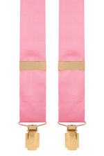Satin Silk Trouser Braces Mens Silk Trouser Braces 35mm Y-Style (Pink) #366