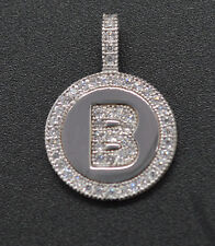 PM42 Created Diamond Round Cut Initial Letter B Pendent .25ct 14K White Gold