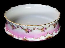 VINTAGE Pink Gold Trim Rose Swag Detailed TV Limoges China France Serving Bowl