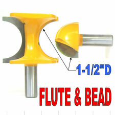 "2 pc 1/2"" SH 1-1/2"" Diameter Flute and Bead Match Joint Router Bit Set sct-888"