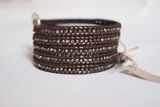 NEW CHAN LUU GUN METAL NUGGETS&COCOA POLYSTER THREAD WRAP LEATHER BRACELET