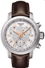 T0552171603302 Tissot Women's Prc 200 Brown Leather White Chrono Watch NEW