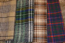 Plaid Check Wool Fabric Cut Pieces Fabric Ideal for Crafting 4 colors SET 1