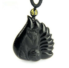 Good luck natural obsidian pendant fox natural obsidian fox charm pendant