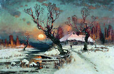 Huge oil painting sunise landscape with house village in the winter Hand painted