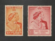 K.U.T. #92-93 (SG #157-158) VF MNH - 1948 20c to £1 Royal Wedding - SCV $45.25