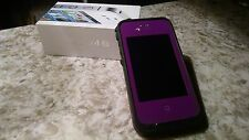 IPhone 4S with purple lifeproof otterbox with wall and car charger